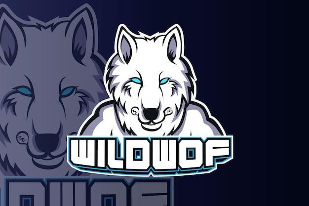 オオカミの頭のeスポーツのロゴチームテンプレート Premiumベクター