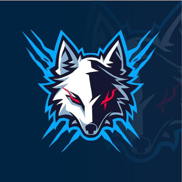 オオカミの頭のeスポーツマスコットロゴ Premiumベクター