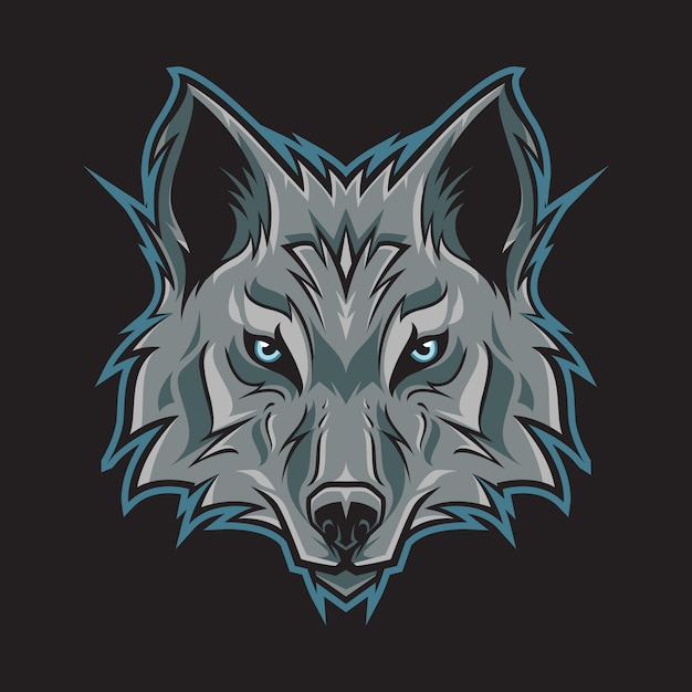 Wolf head logo illustration Premium Vector