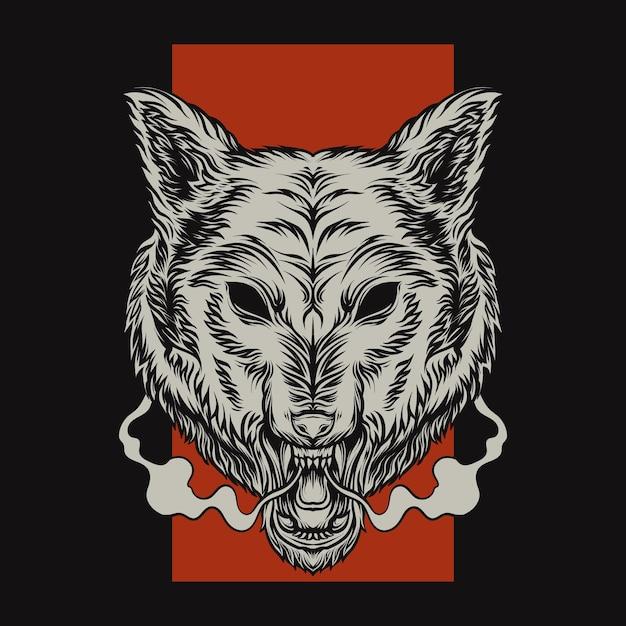 빨간색 배경에 늑대 머리 프리미엄 벡터