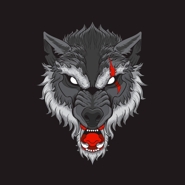 Wolf head with scar in black background Premium Vector