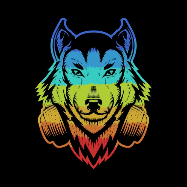 Wolf headphone colorful Premium Vector