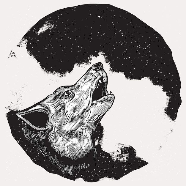 wolf howling at full moon premium vector