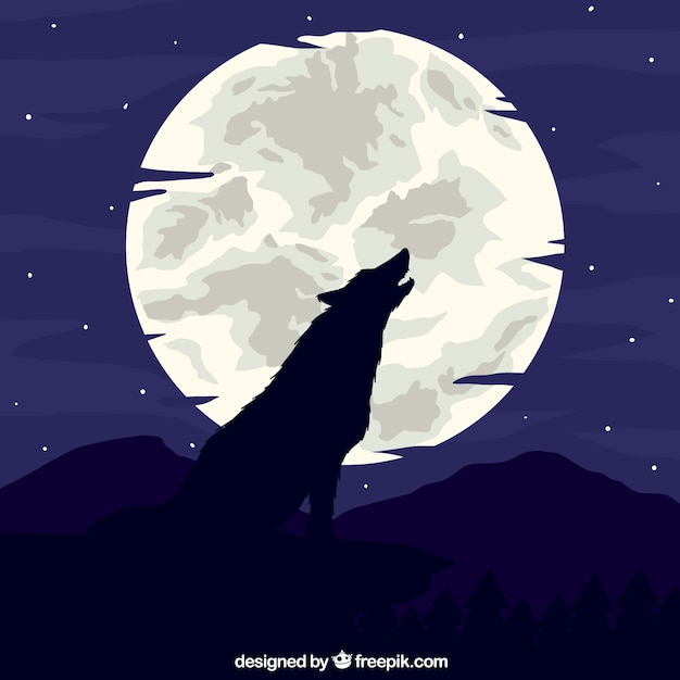 wolf howling at the moon background vector free download. Black Bedroom Furniture Sets. Home Design Ideas