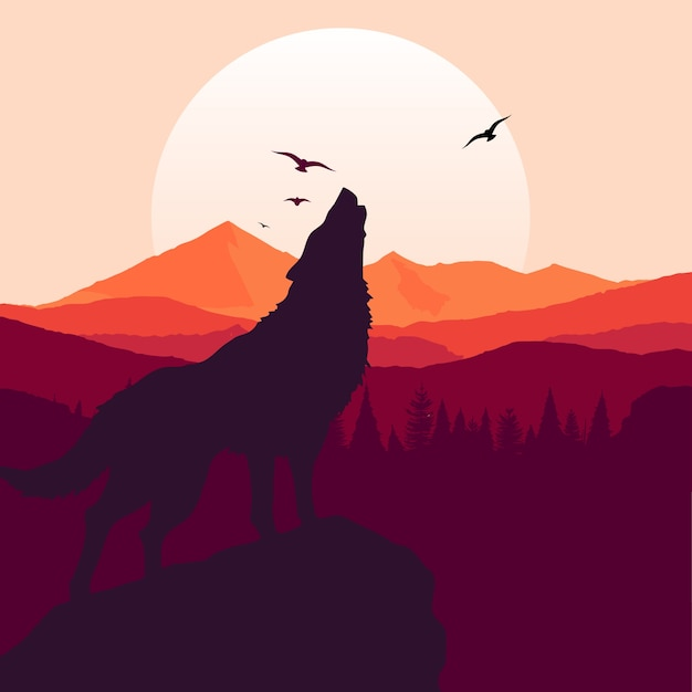 Wolf howling background Free Vector