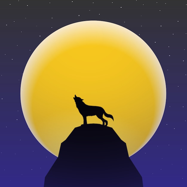 Wolf howling in front of super moon Premium Vector