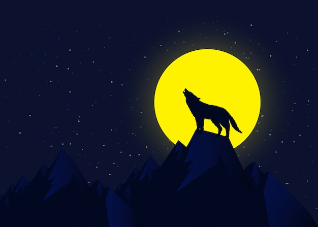 Wolf howling at moonlight, vector illustration concept. Premium Vector