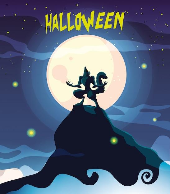 Wolf howling in scene of halloween Premium Vector