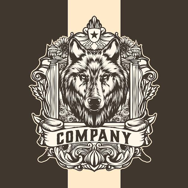 Wolf king vintage logo Premium Vector