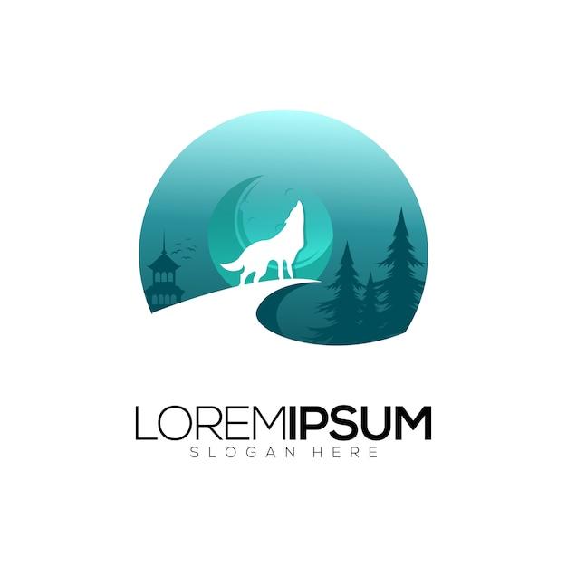 Wolf logo design vector Premium Vector