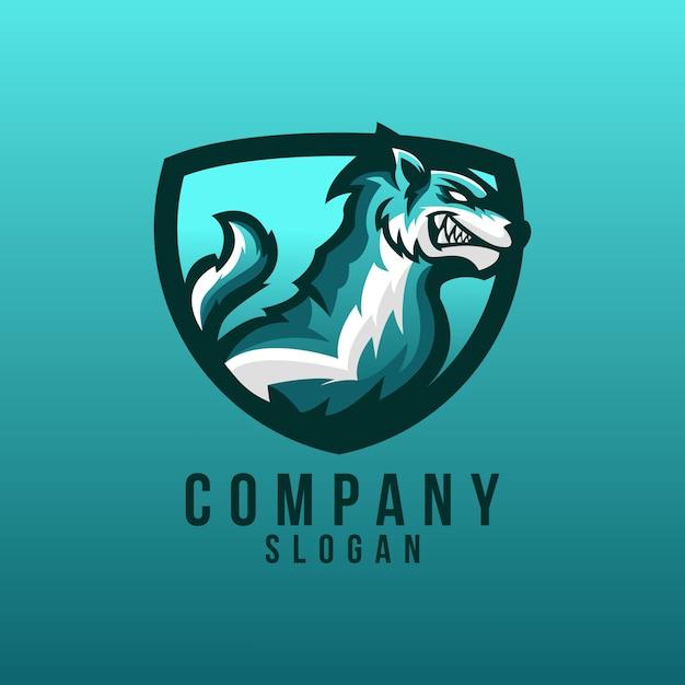 Wolf logo design Premium Vector