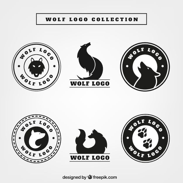 wolf logos pack vector free download