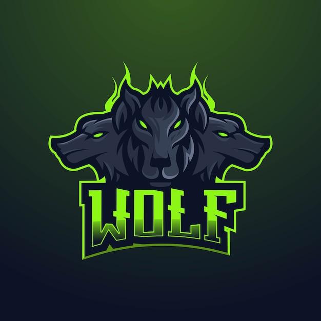オオカミのマスコットのロゴのデザイン。ゲーム用の3匹の黒いオオカミ Premiumベクター
