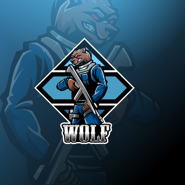 Wolf mascot logo with shotgun Premium Vector