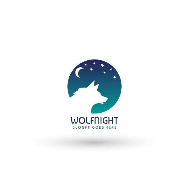 wolf night logo template vector free download