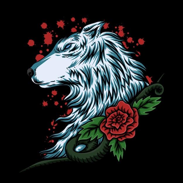 Wolf rose vector illustration Premium Vector