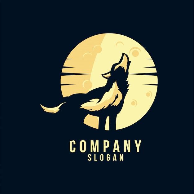 Wolf silhouatte logo design Premium Vector