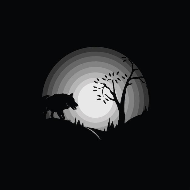 Силуэт волка в лесу, черно-белые иллюстрации Premium векторы