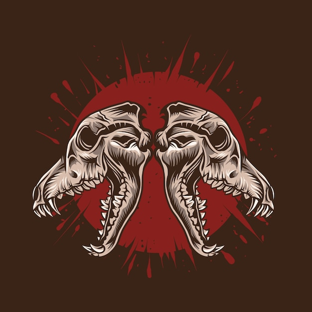 Wolf skull  illustration with red blood  detailed artwork Premium Vector