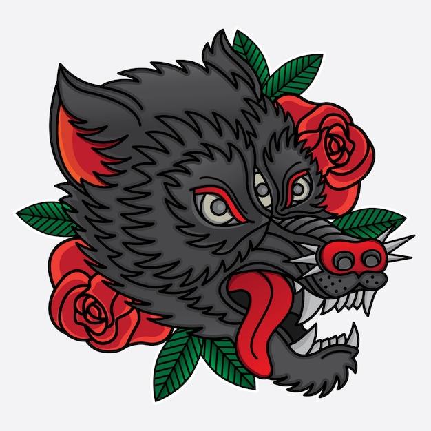 Wolf traditional tattoo Premium Vector