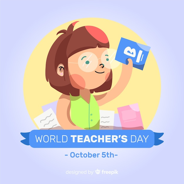 Wolrd teacher\'s day composition with flat\ design