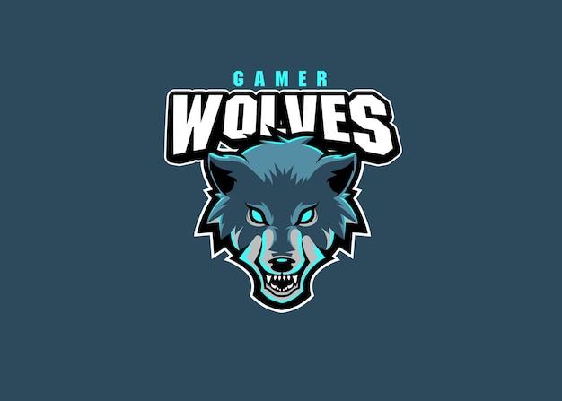 オオカミeスポーツチームのロゴデザイン Premiumベクター