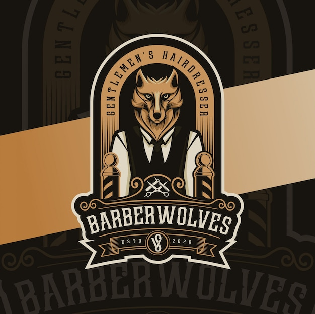 Wolves mascot barbershop vintage logo design Premium Vector