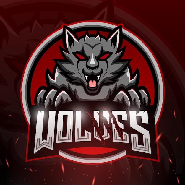 Волки талисман киберспорт иллюстрация Premium векторы