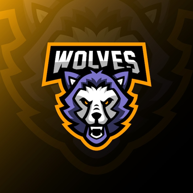 Wolves mascot logo esport gaming illustration. Premium Vector