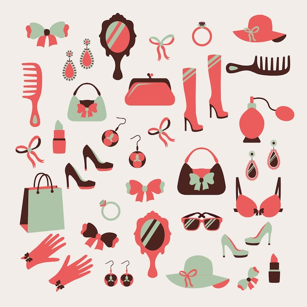 Woman accessories icons set Free Vector