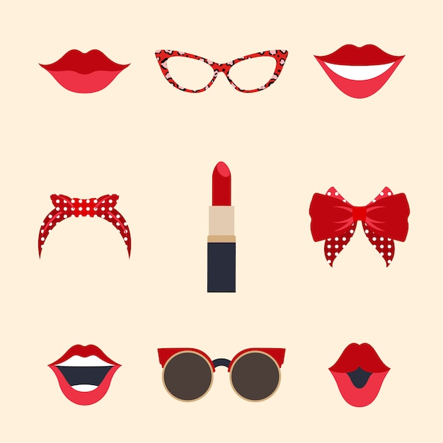 Woman accessories photo booth props vector Free Vector
