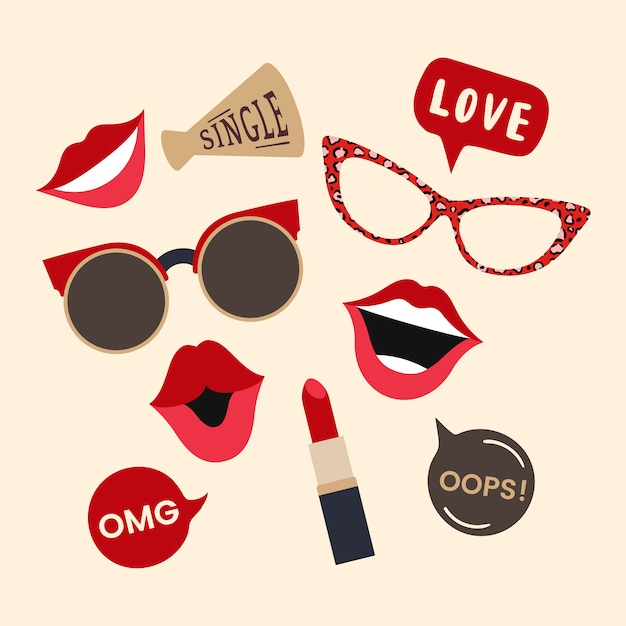 edd0f28acce Woman accessories photo booth props vector Free Vector