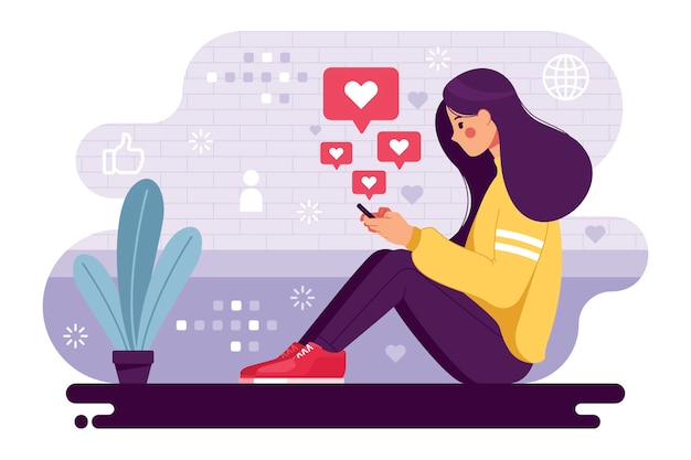 Woman addicted to social media Free Vector