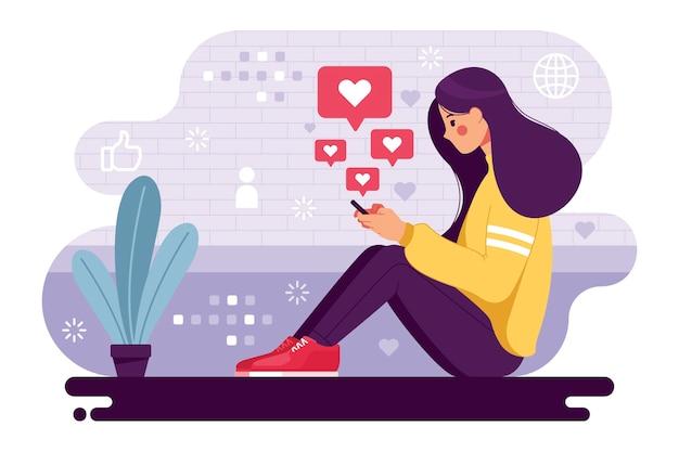 소셜 미디어에 중독 된 여자 프리미엄 벡터