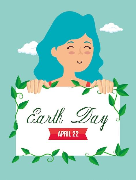 Женщина и эмблема с листьями на день земли Бесплатные векторы