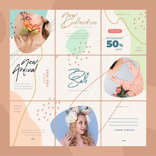 여자와 꽃 Instagram 퍼즐 피드 프리미엄 벡터