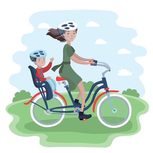 Женщина и ребенок в поездке на велосипеде. женщина и ее ребенок в велосипедном шлеме. Premium векторы