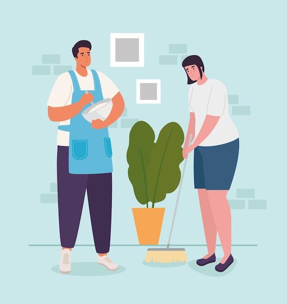 Женщина и мужчина дома готовят и широкий дизайн деятельности и отдыха Premium векторы