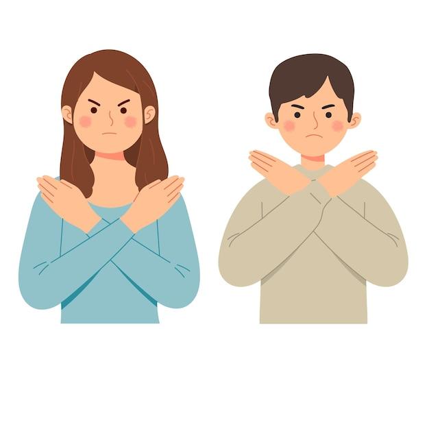 Женщина и мужчина говорят нет жестом отрицать выражение сердитый сварливый запрет Бесплатные векторы