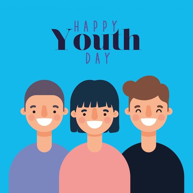 Женщина и мужчина мультфильмы, улыбающиеся счастливого дня молодежи Premium векторы