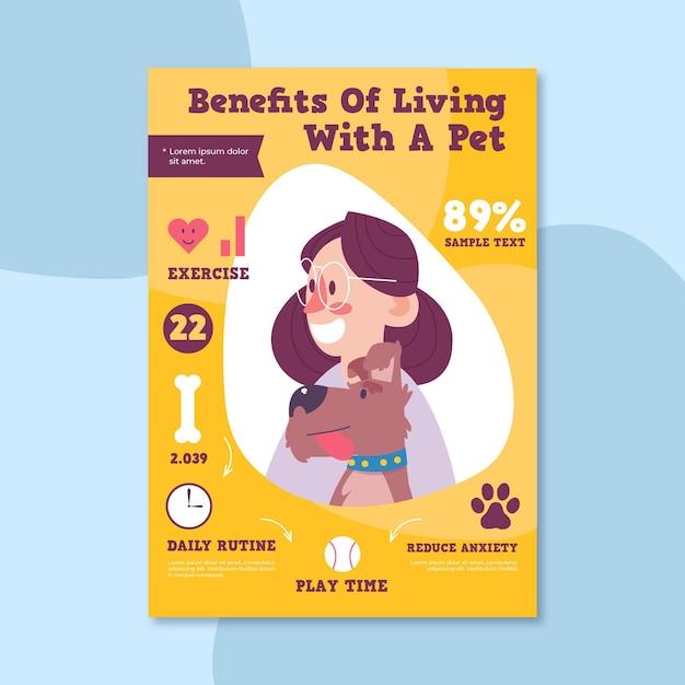 Преимущества жизни женщины и щенка с домашним животным Бесплатные векторы