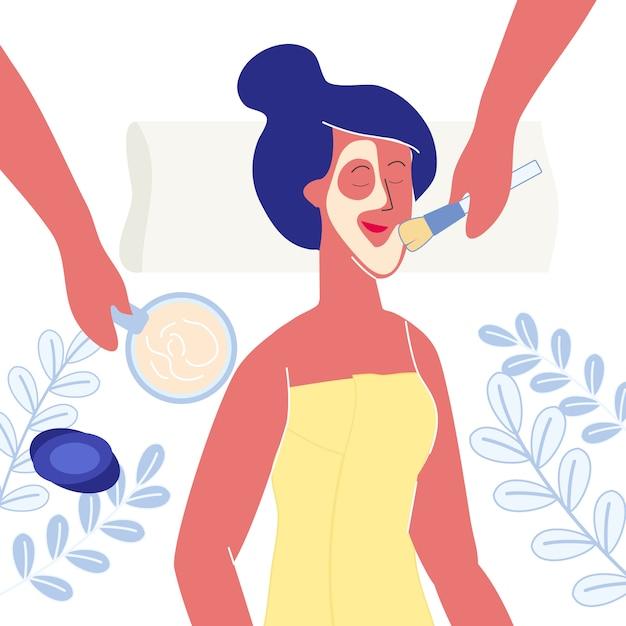 Woman applying clay mask flat vector illustration Premium Vector