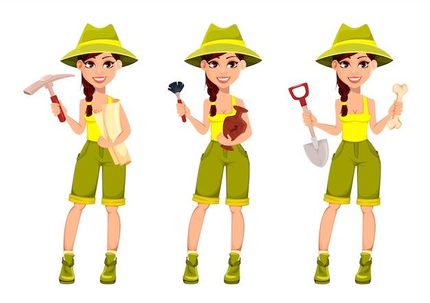 Woman archaeologist, cute cartoon character Premium Vector
