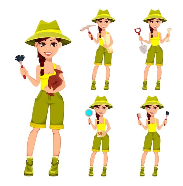 Woman archaeologist. cute cartoon character Premium Vector