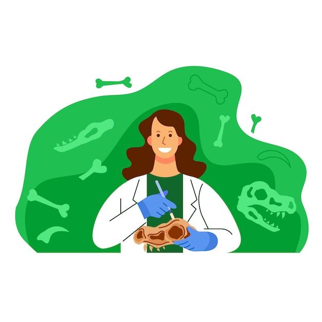 Woman archeology scientist character illustration Premium Vector