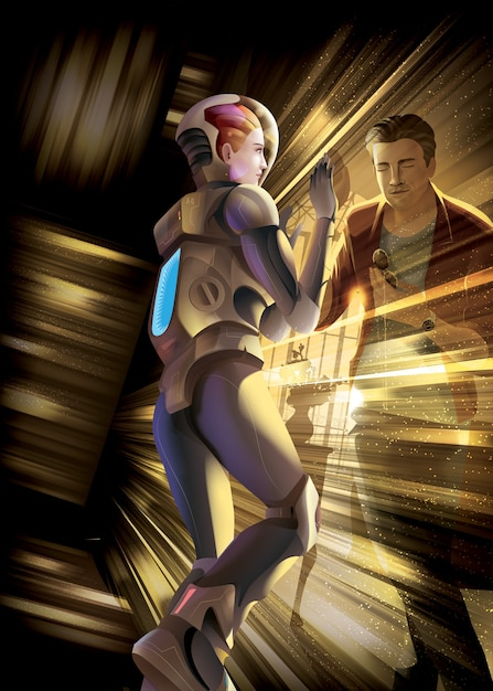 Женщина-космонавт отправляется на миссию во вселенную, она упала в черную дыру, затем оказалась в ловушке временных измерений и попыталась с любовью связаться со своим мужем на земле Premium векторы