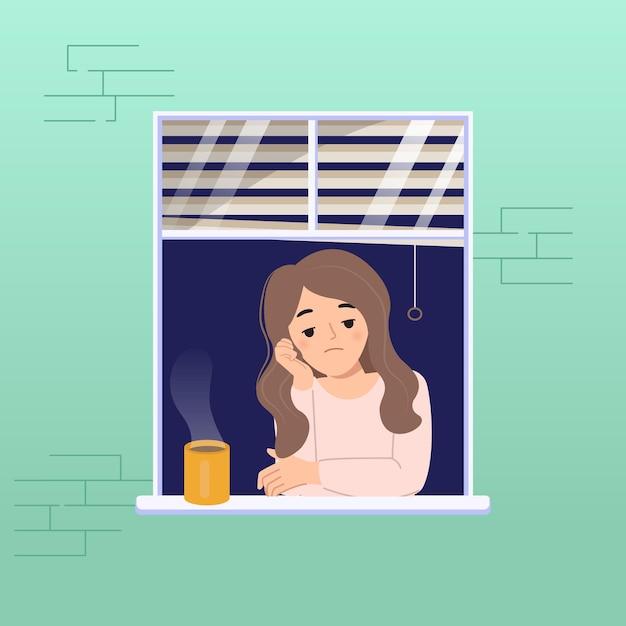 窓際の女性は、コロナウイルスのパンデミック病のために退屈していると感じています。自宅での封鎖の概念。フラットな漫画のデザイン。 Premiumベクター