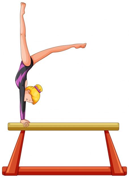 Woman athlete on balance bar Free Vector