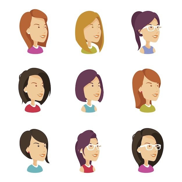 Woman avatar collection Free Vector