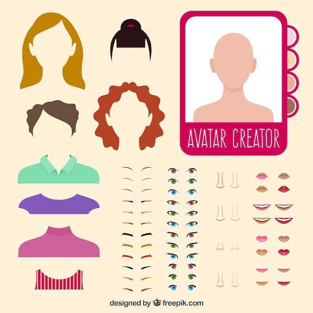 Woman avatar creator Free Vector